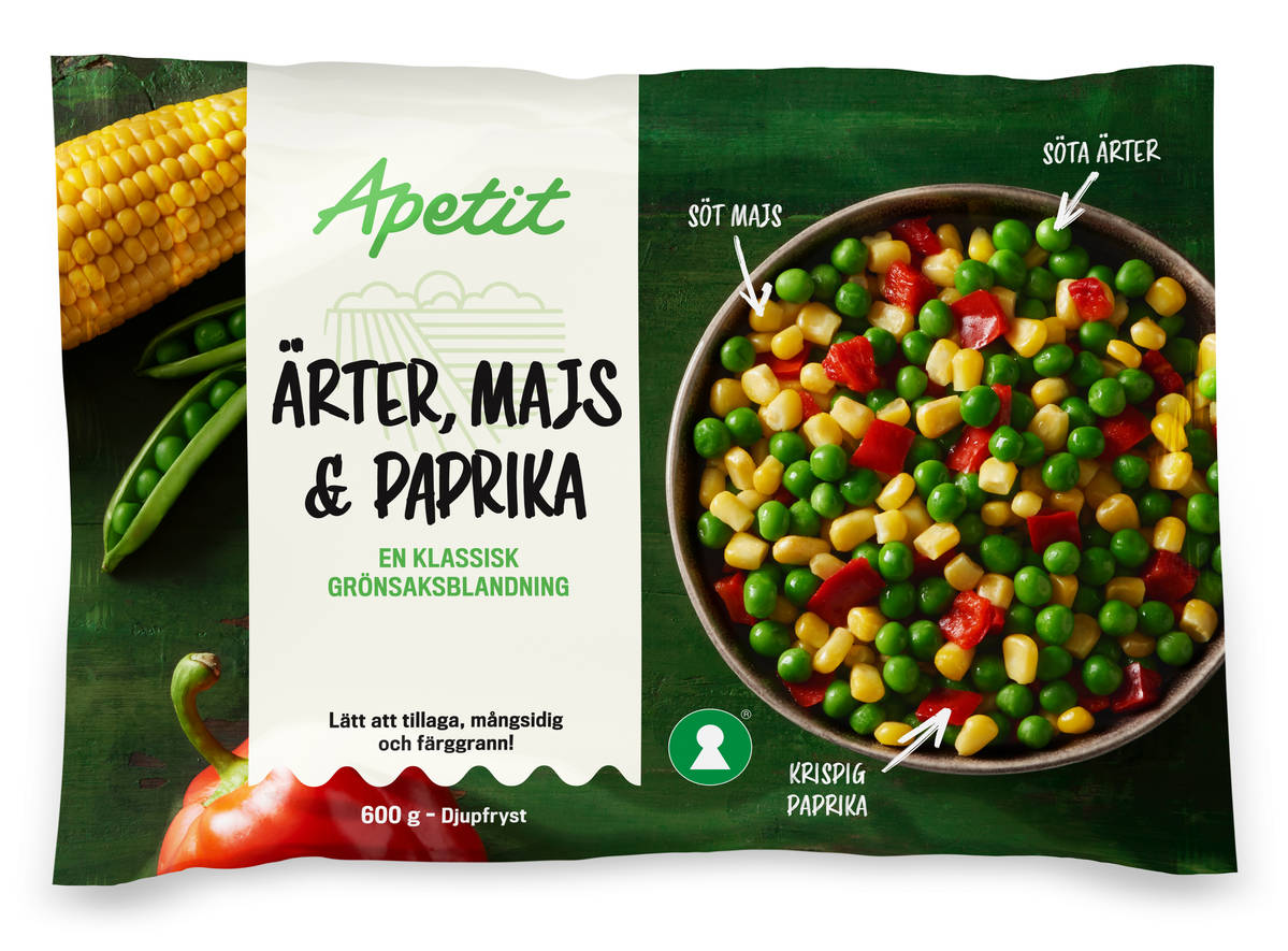 Ärter-majs-paprika 600 g